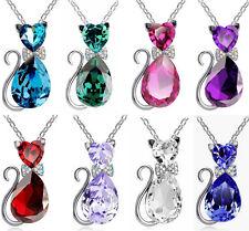 Large Crystal Rhinestone Cat Kitten Animal Pendant Necklace, Blue, Purple, Pink
