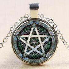 Pentagramm Cabochon Halskette Silber Wicca Hexen Gothic Farbwahl