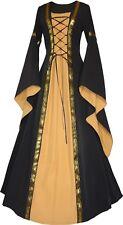 Mittelalter Karneval Gothic Gewand Kleid Kostüm Robe Anna Schwarz-Safran XS-60