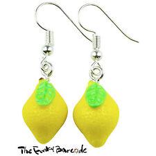 TFB - FRUITY LEMON DANGLE EARRINGS Quirky Novelty Girls Gift Retro Citrus Food