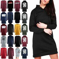 Womens Ladies Oversized Baggy Hooded Fleece Jumper Long Sleeves Sweatshirt Dress