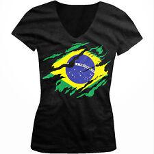 Brasil Rip Through Flag-Brasilian Pride Ordem e Progresso Juniors V-neck T-shirt