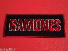 RAMONES RED TEXT STRIPE PUNK ROCK SEW/IRON ON PATCH