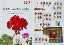 Rumänien 2017 Blumen,Geranien,Pelargonien,Flowers Mi.7300-03,Zf,KB,Block 712,FDC