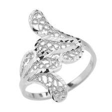 Pure 10k White Gold Diamond Cut Filigree Leaf leaves Ring