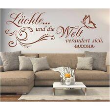Wandtattoo Spruch  Lächle und die Welt Buddha Zitat Wandaufkleber Sticker 8