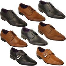 italienische Schuhe Herren Lederoptik Brogue Schnürbar Spitz Formell elegant