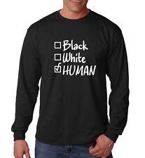 Mens Black White Human Tee Shirt Civil Rights Activity T-Shirt Long Sleeve