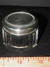 ANTIQUE CUT GLASS DRESSER JAR VANITY BOX STERLING SILVER TOP
