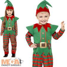 Elf Kids Fancy Dress Santas Little Helper Christmas Boys Girls Costume Outfit