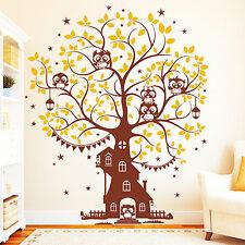 """Sticker mural """" Arbre Maison avec hiboux """" (2 couleurs) / muraux Owl 10846"""