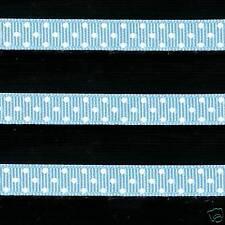 "5 yards 3/8"" Blue Swiss Polka Dot Grosgrain Ribbon"