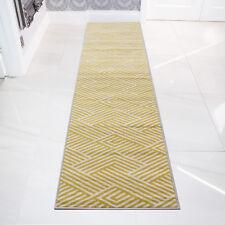 Designer Ochre Runner Patchwork Thatch Mustard Yellow Rug Geometric Trendy Rug