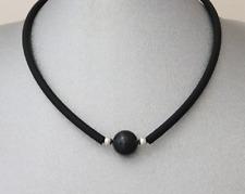 Neue Kautschuk schwarz Perlen Kette Halskette Collier Schmuck 925 Silber Damen I