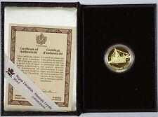1991 Canada $100 .25 Oz Gold Proof Coin, Empress of India Steamship, Case w/COA