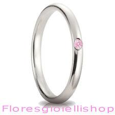 Fedina in argento con brillante Cubic Zirconia rosa, disponibile in vari colori
