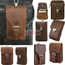 Handmade Vintage Men Genuine Leather Hip Hook Belt Waist Bag Hiking Phone Pouch