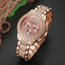 41e4f39d2e1a Reloj de pulsera Geneva Mujeres Damas Estrás Acero Inoxidable de Lujo  Cuarzo causal