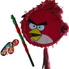 Red Pinata set Kids Smash Party Fun game Stick angry birds pig 2