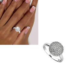 Breiter Damen Ring 925 echt Silber viele Zirkoniasteine Kugel rund Gr. 48-60 neu