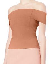 Michelle Mason Women's Nude Beige Off-Shoulder Short Sleeves Top