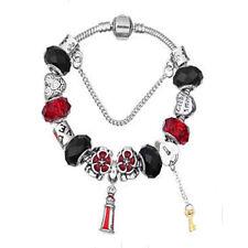 NEW MC Silver Black Red Flower Key Murano Beads Charm European Bracelet
