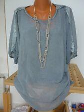 Laura Scott Bluse Shirt Gr. 32/34 - 44/46 Pailletten 2 in 1 Effekt (293) NEU