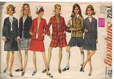 7812 Vintage Simplicity Sewing Pattern Misses Jacket Skirt Mini Pantskirt 1960's