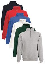 Fruit Of The Loom Plain Zip Neck Cadet Collar Sweatshirt Sweat Jumper No Logo