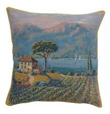 Lakeside Vineyard Left Belgian Tapestry Pillow Cover Jacquard Woven Home Decor