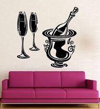 Wall Stickers Vinyl Decal Restaurant Wine Champagne Drink Kitchen Bar (ig2303)