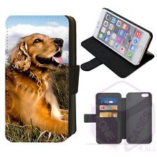 Linda Funda de Teléfono Abatible estilo billetera con Perro Iphone Galaxy 4 5 6 7 8 Plus X Comp (a)