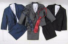 Childrens Teens Boys Formal Tuxedo Suit 5 Piece Page Wedding Boy Grey Black