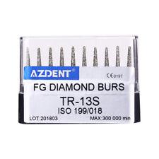 US 10PCs/Box Dental High Speed Diamond Burs TR-13S for Crown Cavity Preparation