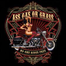 Ass Gas Or Grass No One Rides Free Motorcycle Biker Pin Up Girl T-Shirt Tee