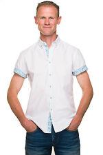 Ugholin - Chemise Homme Casual Taille Ajustée Unie Coton Manches Courtes Fleurs