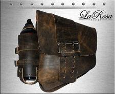 La Rosa Rustic Brown Leather Solo Strap HD Softail Rigid Saddlebag + Fuel Bottle