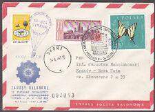 POLAND 1967.VI.24 Ballon SYRENA, Mail Cat.42c Start POZNAN - SKOK landing