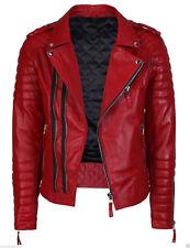 Men's Genuine Lambskin Leather Jacket Red Slim fit Motorcycle jacket MJ323