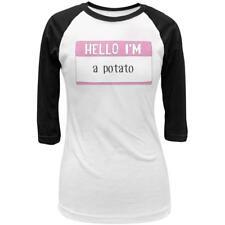 Halloween Hello I'm a Potato Juniors 3/4 Sleeve Raglan T Shirt