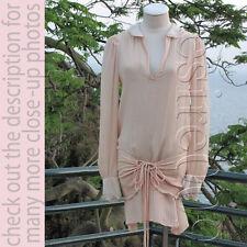 Girlish Romantic Pastel Peach Silk Ruffle Lace Wrap Belt Blouse/Dress M
