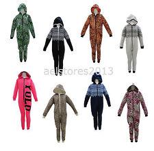 Girls Boys Kids All In One One piece Hooded Jumpsuit Sleepsuit Pyjamas Age 7-13