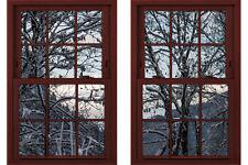 Faux - Fake Window Illusion - Cherrywood Frame - WInter Woods 2 Views
