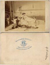 PAINTING OF RECLINING WOMAN   CHILDREN LEOPARD RUG NEW YORK CDV