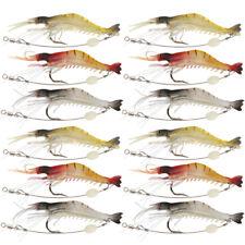 Lot Soft Fishing Bait Shrimp Lure 8.5cm6g Prawn Luminous Silicone Lure Saltwater