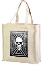 Tri Skull Cotton Shopping Bag, Choice Of Colours, Black, Cream, Pink