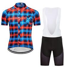 Mens Cycling Short Sleeve Jersey Bib Shorts Sets Garments Breathable Quick Dry