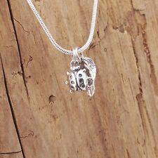 Hoja de Plata Esterlina Encanto Colgante Collar Lucky Ladybird Ladybug