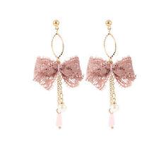 Womens Faux Pearl Bow Knot Stud Earrings Fashion Jewellery Gift D