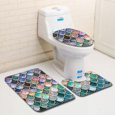 3PCS Shower Bathroom Toilet Lid Cover Cushion Pedestal Carpet Set Pedestal Rug